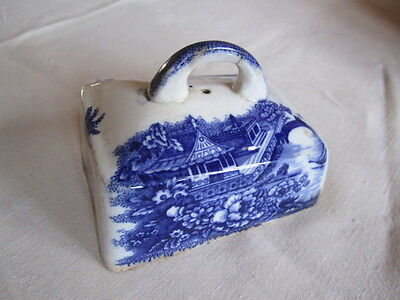 Small Antique White and Blue cheese dish cover