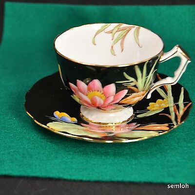 AYNSLEY Crocus Footed CUP & SAUCER 1934-1939 #B4155 BLACK Pink WATER LILIES GOLD