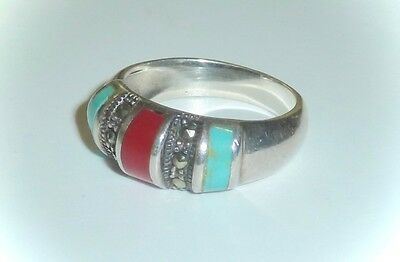 Vintage 925 Sterling Silver, Red Coral, Marcasite & Turquoise Ring - Ladies 6