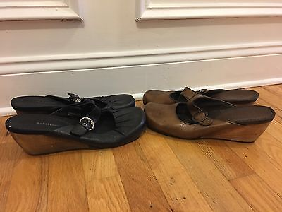 "Lot Of 2 BARE TRAPS Womens Size 11 Black Brown Slides ""Gayle"" Dress Casual Shoes"