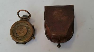 1918 Ww I Army Corps Of Engineers Brass Compass #33667 And Case