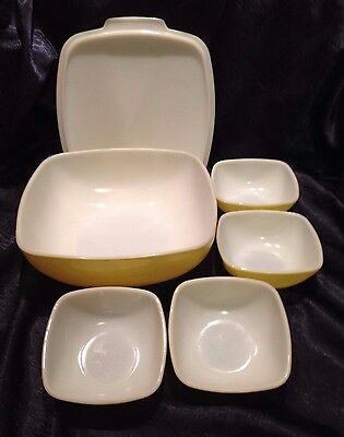 Vintage PYREX 1949-53;  LARGE PRIMARY-YELLOW COMPLETE Hostess Serving-SET