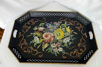 Vintage Nashco hand painted Floral large sized tray Signed Fred Austin