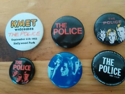 The Police concert buttons set of 5