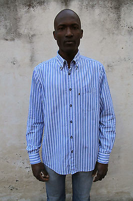 Navigare VTG 90s Mens Casual Shirt Blue Striped Multi Cotton Long Sleeved L