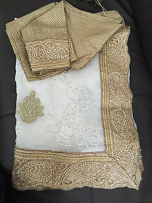 White Pearl Saree/ Bollywood Indian Lehenga Wedding