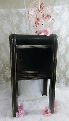 Antique Chic Art Deco Shabby Black Waterfall Nightstand chest or End Table