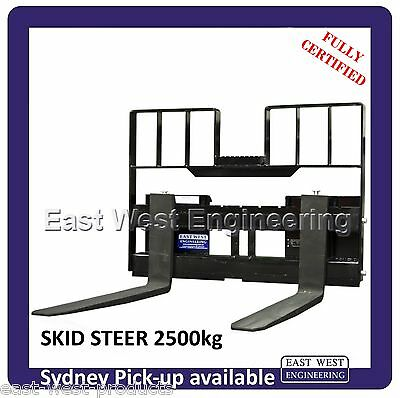 SKID STEER QUICK HITCH PALLET FORKS with LOADGUARD 2500kg QSS25E FULLY CERTIFIED