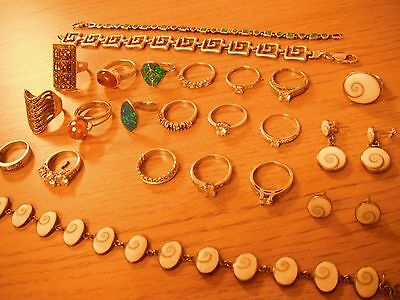 COLLECTION OF SILVER JEWELLERY inc 18x RINGS 3x BRACELETS - STAMPED 925