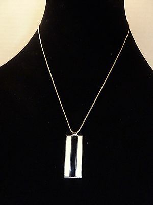 Vintage 1960's Silver Tone Chain Black and White Enamel Pendant Necklace