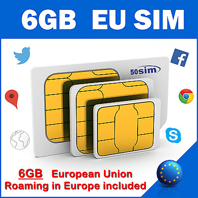 SIM CARD 6GB EU Luxembourg Malt Norway Netherlands Poland Portugal Romania