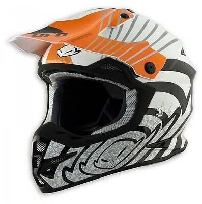 size XL - Helmet UFO Mx Helmet Warrior Shock White Orange Cross Enduro DH