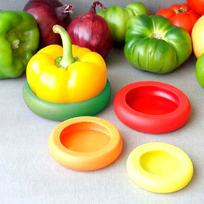4Pieces/set Flexible Fruit Silicone Vegetable Food Huggers Storage Cover Storage