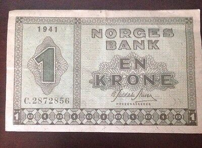 Norway 1 Krone 1941  Norges Bank.  C. 2872856