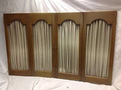 "Vintage 4 Dark Wood Open Shutter Panels Interior Window Shirred Fabric 46""x30""h"
