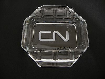 Vintage Cn Rail Railroad Glass Ashtray Transportation Trains Advertising Canada