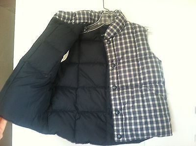 Lands End Kids Navy Blue White Check Plaid Down Puffer Puffy Vest Size 7 8 Boys
