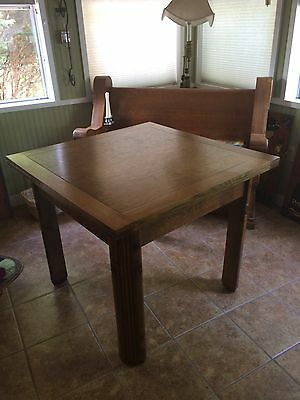 Antique Oak Draw Leaf English Pub Table With Carved Legs, Great Condition