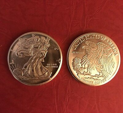 """1oz Copper """"Walking Liberty American Eagle"""" Coin/Round in Protect Holder"""