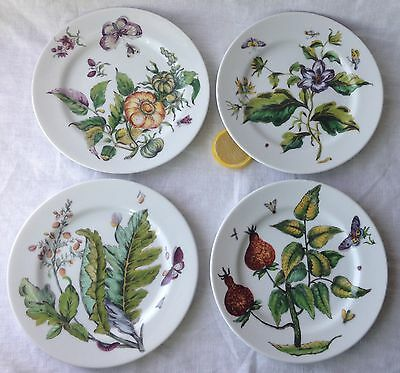 "Mottahedeh Design Set Of 4 Luncheon Plates ""The Exotic Plant"" 8"" Porcelain"