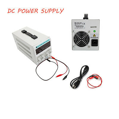 New DC Power Supply 30V 10A Precision Variable Digital Adjustable Clip Cable US
