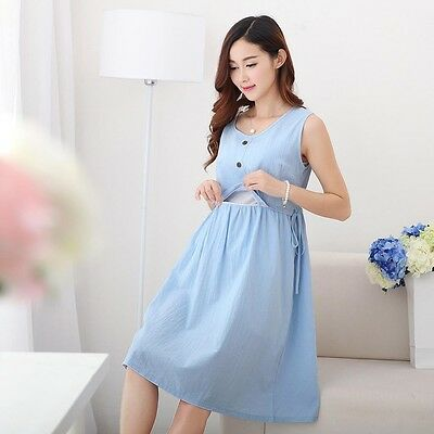 New Maternity Clothes Breastfeeding Nursing Summer Cotton Pregnancy  Dress
