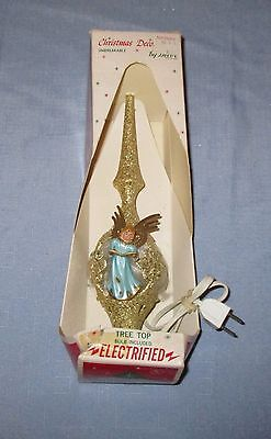 Rare Vintage Christmas Jewelbrite Electrified Light-Up Angel Tree Topper Boxed