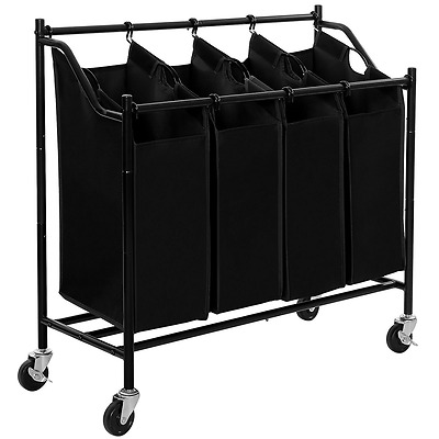 SONGMICS 4-Bag Rolling Laundry Sorter Cart Heavy-Duty Sorting Hamper W' B