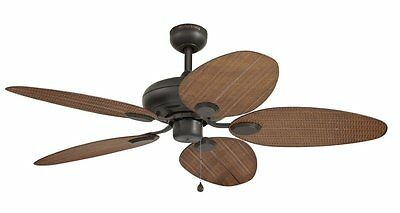 """NEW 52"""" Rattan Style Aged Bronze Damp-Rated Indoor Outdoor Ceiling Fan! Wicker"""