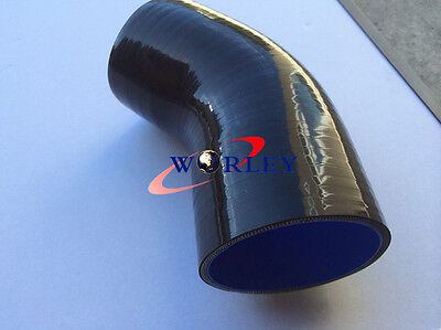 "Silicone hose 45 degree Elbow 76mm 3"" inch Turbo Intercooler hose Black"