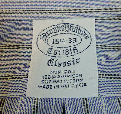 Brooks Brothers Men's Slim Fit Blue Striped French Cuff Dress Shirt 15 1/2 - 33