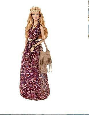 """THE LOOK ""  Barbie doll MUSIC FESTIVAL 3pc. HIPPIE dress W / attached gold belt"