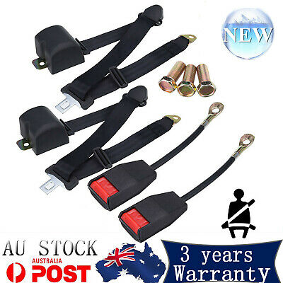 2 Kit Black Auto Car Lap Adjustable Seat Belt Retractable Universal 3Point Safe