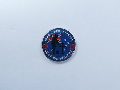 Lest We Forget Iraq Afghanistan 30mm Anzac Remembrance Day Poppy Lapel Badge