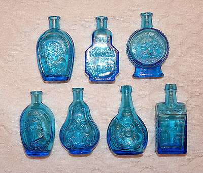 Vintage Blue Glass WHEATON Bottles - Small Miniature - Lot of 7 Bottles