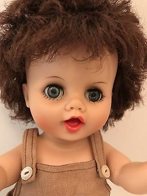 Baby Doll Vinyl Rooted Curly Hair 11in Jointed 1950s Drink Wet Sleep Eyes