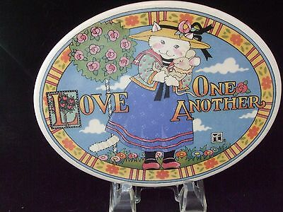 """MARY ENGLEBREIT 1994 ME """"Love One Another Cat/Mouse"""" Ceramic Oval Plaque 9.5x6.5"""