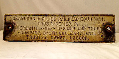 Seaboard Air Line RR Equipment Trust Series R~Baltimore MD Steel Plate/Plaque