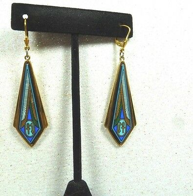 Vintage Michaela Frey Team Enamel 18K Gold Edging Drop Earrings