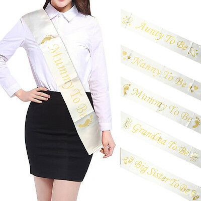 White & Gold BABY SHOWER SASH Mummy Nanny Auntie Godmother Sister party sash
