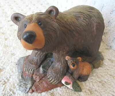 "Bearfoots Brown Bears by Jeff Fleming Big Sky Carvers ""Fish Dinner"" 6.75"""