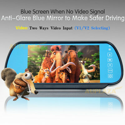 "7"" LCD Screen Car Rear View Headrest Mirror Monitor For Car Reversing Camera AU"