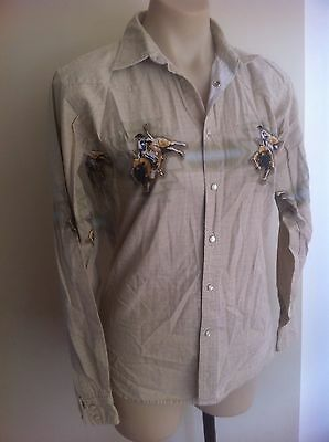Vintage WRANGLER Cowboy Shirt Ladies Size 12-14 Men's Medium Rodeo Moonstone USA