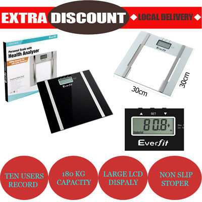 Digital Bathroom Body Fat Scale Electronic Smart Weight Water Scale LCD Glass AU