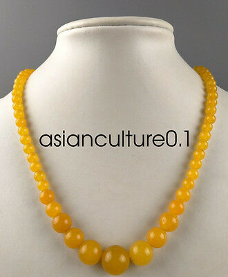 China fashionable noble yellow natural agate Chalcedony jade bead necklace
