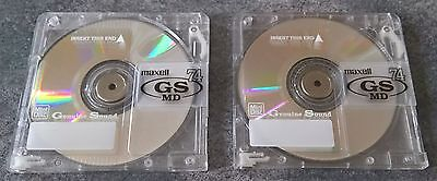 Two used Maxell 74 minute 'GS' Series MiniDiscs with cases FREE PRIORITY AusPost