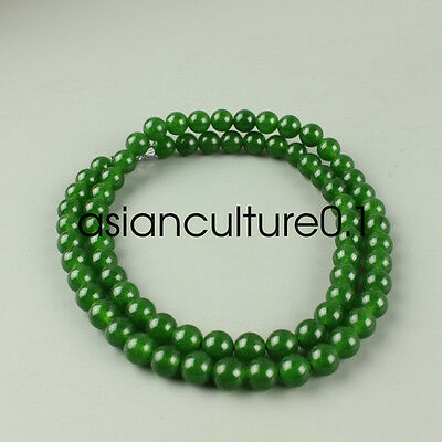 Chinese Beautiful Handcarved 100% Natural Jade  Green Beads Necklaces