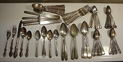 Mixed Lot 54 Pieces Antique Silverplate Silverware Flatware Spoon Fork Knife