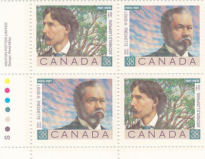 """Canada, 1989, """"poets Of Canadians"""" Block Of 4 Stamp Set. Mint Nh. Fresh"""