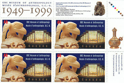 """Canada, 1999, """"u. Of B.c. Museum Of Anthropology"""" Block Of 4 Stamp Set. Mint Nh"""